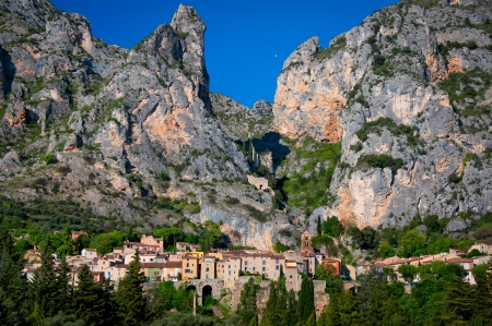 Moustiers Sainte Marie village view in Provence, France