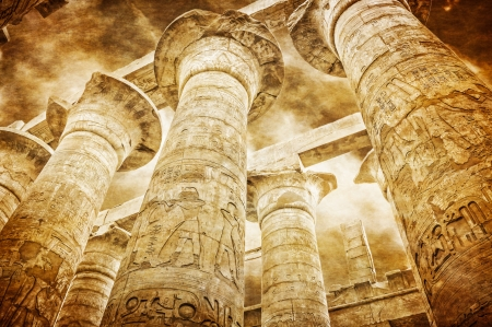 obelisk stone: Great Hypostyle Hall at the Temples of Karnak  ancient Thebes   Luxor, Egypt Stock Photo