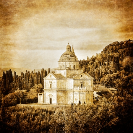 San Biagio cathedral vintage retro in Montepulciano, Italy Stock Photo - 16897342