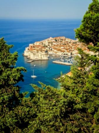 adriatic: View of Dubrovnik old town, blue ocean horizon, Croatia