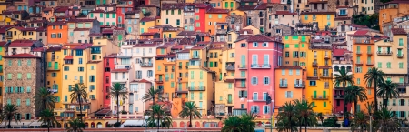 Detail of colorful Provence village houses, Menton, France