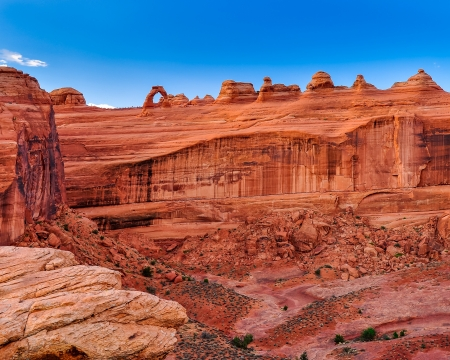 rock arch: Delicate arch landscape distance view, Arches national park, Utah, USA
