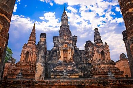 architectonic: Architectonisch detail van boeddhistische tempel Wat Mahathat in Sukhothai, Thailand Stockfoto