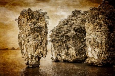 James Bond island ocean vintage view in Phang Nga bay, Andaman Sea, Thailand photo
