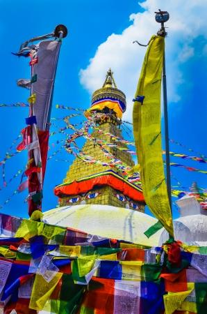 kathmandu: Bouddhanath stupa with buddhist flags foreground, Kathmandu, Nepal