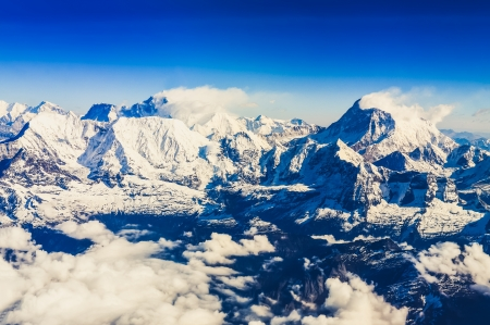 Himalaya Everest range view from mountain flight with Mt Everest and Makalu Stock Photo