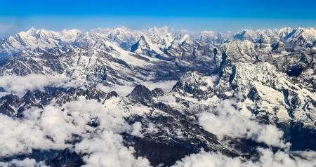 Himalayas mountains Everest range panorama aerial view, Nepal