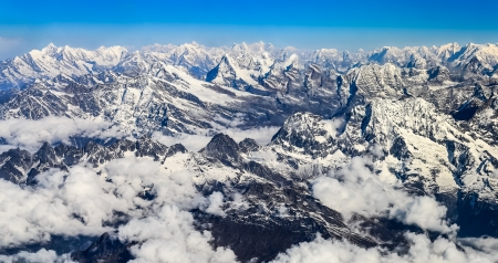 Himalayas mountains Everest range panorama aerial view, Nepal