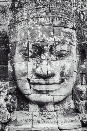 khmer: Detail of stone face in the Bayon temple at Angkor Wat, Cambodia Stock Photo