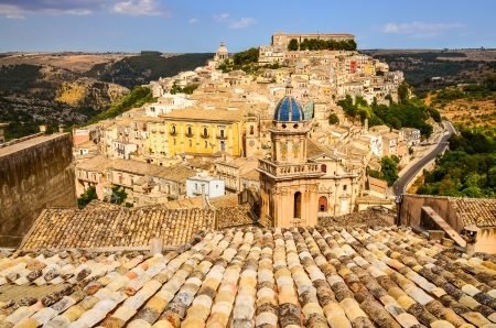 View of beautiful village Ragusa Ibla in Sicily, Italy