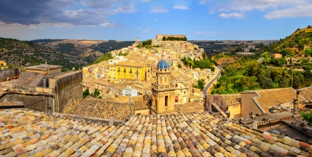 Panoramic view of beautiful village Ragusa in Sicily, Italy