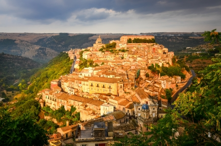 sicilian: View of beautiful village Ragusa ibla at sunset, Sicily, Italy Stock Photo
