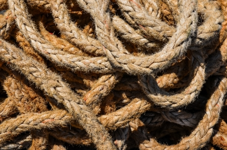 Detail view of old used marine rope photo