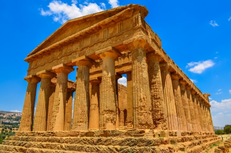 valley of the temples: Ruins of ancient temple in Agrigento, Sicily, Italy