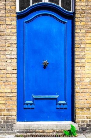 Closed blue entrance door in brick wall photo