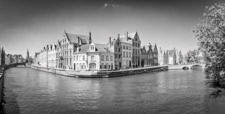 water town: Monochrome panorama view of river canal and houses in Bruges, Belgium