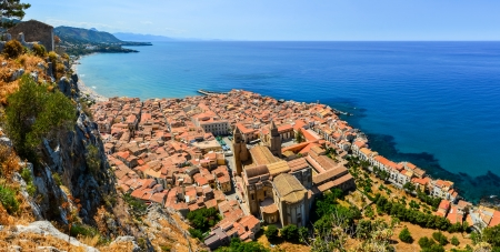 sicily: Aerial panoramic view of village Cefalu in Sicily, Italy