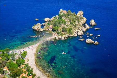 Aerial view of Isola Bella beach in Taormina, Sicily, Italy photo