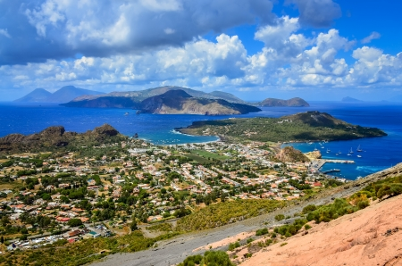 Landscape view of Lipari islands taken from Volcano island, Sicily, Italy 免版税图像