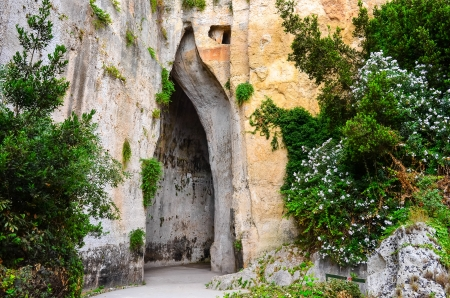 acoustical: Limeston cave called Ear of Dionysius  Orecchio di Dionigi  on Sicily, Italy Stock Photo