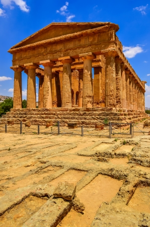 agrigento: Vertical view of ruins of ancient temple in Agrigento, Sicily, Italy
