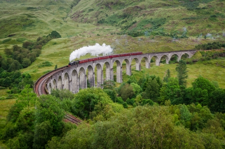 viaduct: View of a steam train on a famous Glenfinnan viaduct, Scotland