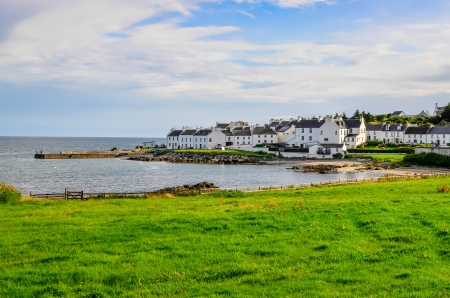 View of harbour and town Port Charlotte on Isle of Islay, Scotland