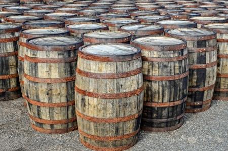 casks: Detail of stacked whisky casks and barrels