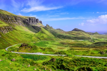 View of Quiraing mountains and the road, Scottish highlands, United Kingdom photo