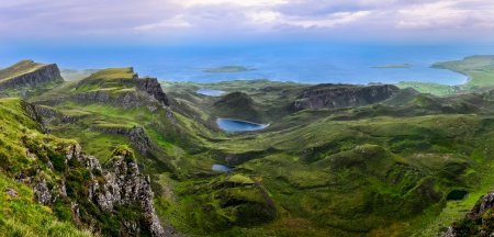 Panoramic view of Quiraing coastline in Scottish highlands, United Kingdom photo