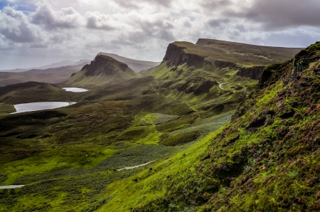 Landscape view of Quiraing mountains in Isle of Skye, Scottish highlands, United Kingdom photo