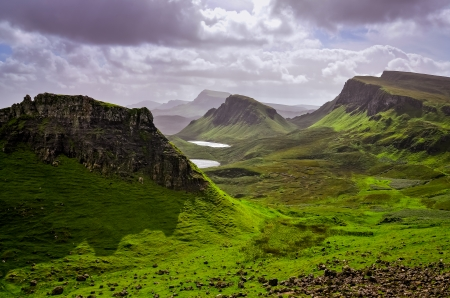 Landscape view of Quiraing mountains on Isle of Skye, Scottish highlands, United Kingdom photo