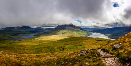Panoramic view of beautiful lakes and clouds in Inverpolly area, Scotland, United Kingdom photo