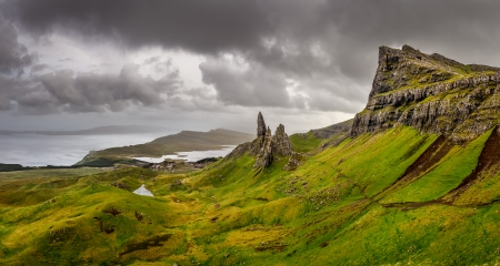 Panoramic view of Old man of Storr mountains, Scottish highlands, United Kingdom photo
