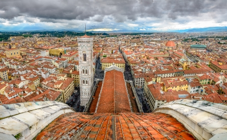 Panoramic view of Florence from cupola of Duomo cathedral, Italy photo