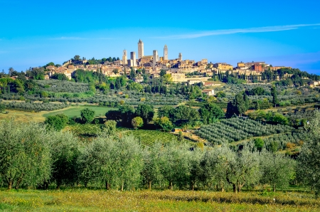 Scenic landscape view of San Gimignano town in Tuscany, Italy photo