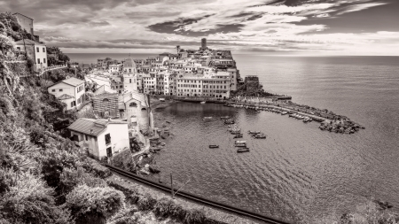 Panoramic vintage view of village and harbor in Vernazza, Cinque Terre, Italy photo