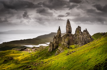 Landscape view of Old Man of Storr rock formation, Scotland, United Kingdom Stock Photo