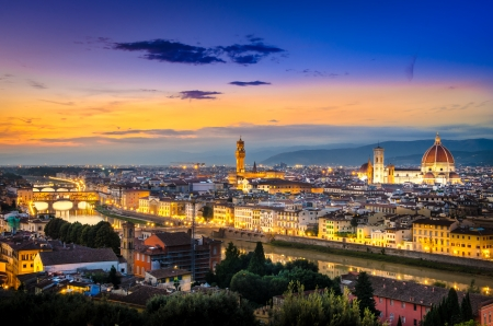 florence: Scenic view of Florence after sunset from Piazzale Michelangelo, Florence, Italy