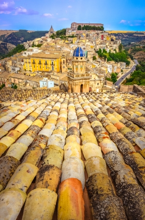 Vertical view of roofs and beautiful village Ragusa in Sicily, Italy Stock Photo