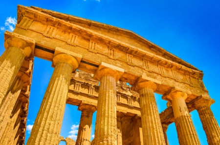 valley of the temples: Ruins of ancient temple front pillars in Agrigento, Sicily, Italy