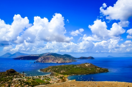 Landscape view of Lipari islands taken from Volcano island on Sicily, Italy