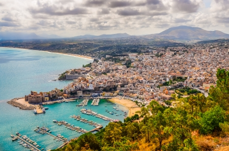 sicily: Scenic landscape view of Trapani town and harbor, Sicily, Itay Stock Photo