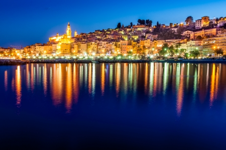 riviera: Night skyline of colorful village Menton in Provence, France