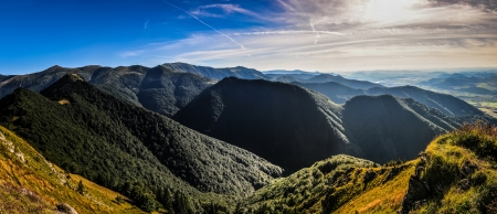 Panoramic view of green summer mountains in Mala Fatra, Slovakia photo