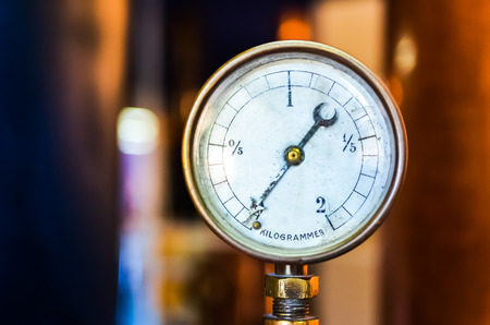 Detail of old pressure manometer on nice bokeh  photo