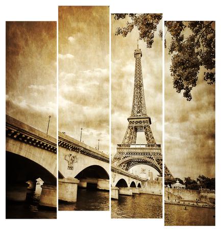 Tour Eiffel rétro vintage dans les rayures, de la Seine, Paris, France Banque d'images - 25951063