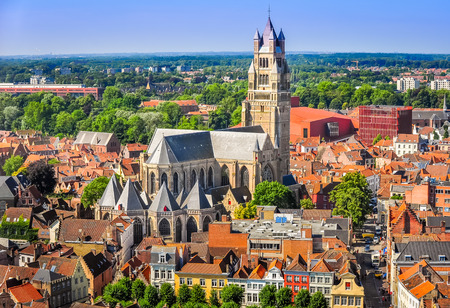 salvator: Aerial view of Saint Salvator Cathedral, Old Town of Bruges, Belgium