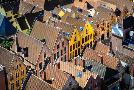 the flanders: Detail of old rooftops and colorufl houses in historical town, Bruges, Belgium Stock Photo