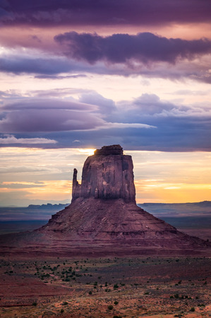 tribal park: Beautiful colorful sunrise at Monument valley, USA Stock Photo